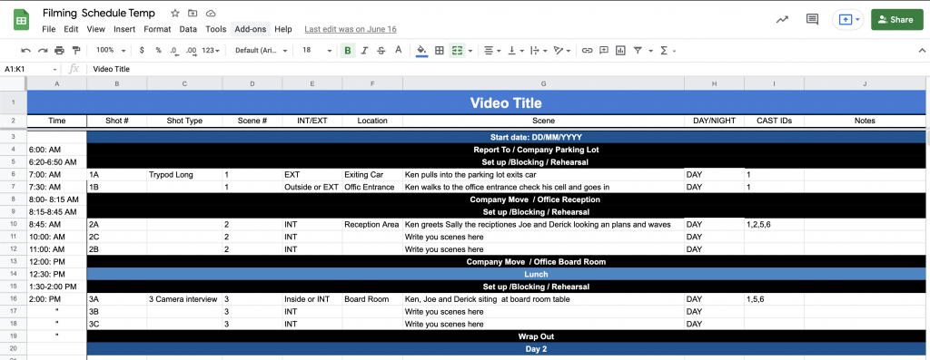 an image of a video production schedule called a Stripboard