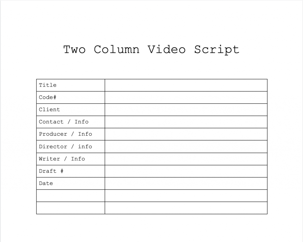 the head section of a two-column script used for administrative purposes